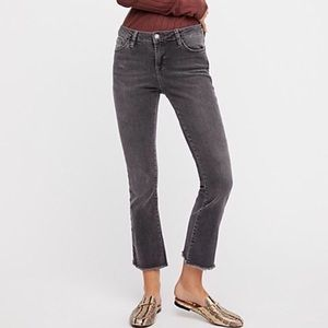Free People Cropped Raw Frayed Hem Straight Jeans